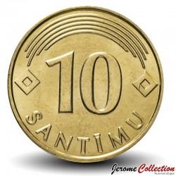 LETTONIE - PIECE de 10 santimu - 2008 Km#17