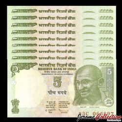 INDE - Lot de 10 Billets de 5 Roupies - Mahatma Gandhi - 2011 P94A6