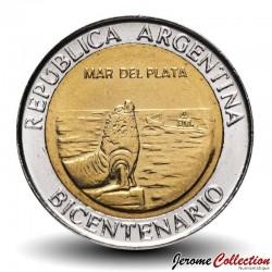 ARGENTINE - PIECE de 1 Peso - Bimétal - Mar del Plata / Phoque - 2010 Km#158