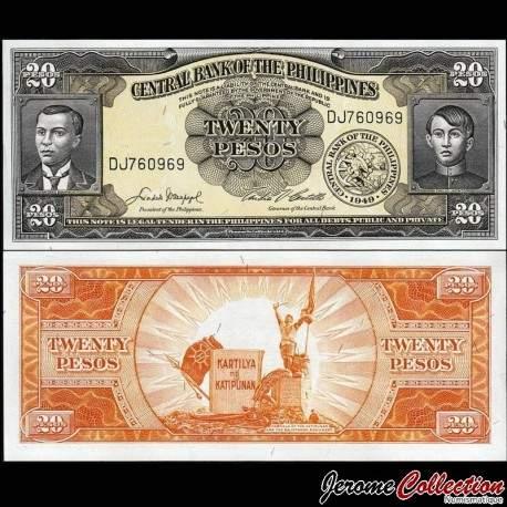 PHILIPPINES - Billet de 20 Piso -Andres Bonifacio & Emilio Jacinto - 1949 P137d