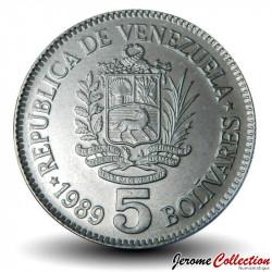 VENEZUELA - PIECE de 5 Bolivars - 1989