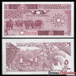 SOMALIE - Billet de 5 Shillings - Buffles - 1986 P31b