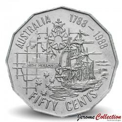 AUSTRALIE - PIECE de 50 Cents - Colonisation de l'Australie - 1988 Km#99