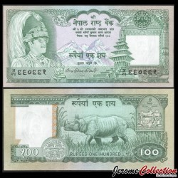 NEPAL - Billet de 100 Roupies - Rhinocéros - 1981 P34b