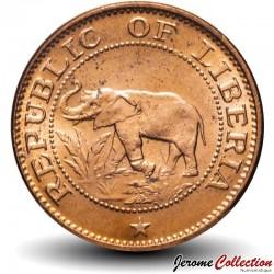 LIBERIA - PIECE de 1 Cent - éléphant d'Afrique - 1972 Km#13