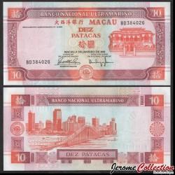MACAO - Billet de 10 Patacas - Pont du gouverneur Nobre de Carvalho - 2001 P76b1