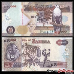 ZAMBIE - Billet de 5000 Kwacha - Lion - 2011 P45g