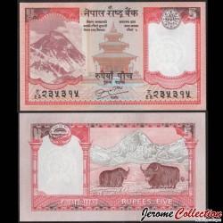 NEPAL - Billet de 5 Roupies - Yaks, Everest - 2010 P60b