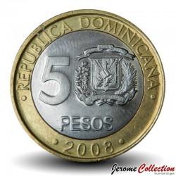 REPUBLIQUE DOMINICAINE - PIECE de 5 Pesos - Francisco Del Rosario Sánchez - 2008 Km#89
