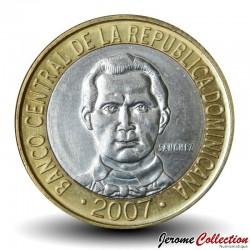 REPUBLIQUE DOMINICAINE - PIECE de 5 Pesos - Francisco Del Rosario Sánchez - 2007 Km#89