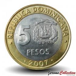 REPUBLIQUE DOMINICAINE - PIECE de 5 Pesos - Francisco Del Rosario Sánchez - 2007