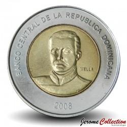 REPUBLIQUE DOMINICAINE - PIECE de 10 Pesos - Matías Ramón Mella - 2008 Km#106
