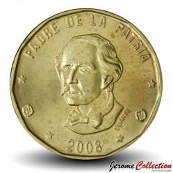 REPUBLIQUE DOMINICAINE - PIECE de 1 Peso - Juan Pablo Duarte y Diez - 2008 Km#102