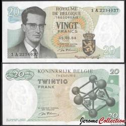 BELGIQUE - Billet de 20 Francs - Roi Baudouin - 1964 P138a1