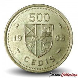 GHANA - PIECE de 500 Cedis - Tambours - 1998 Km#34