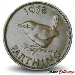 ROYAUME UNI - PIECE de 1 Farthing - Oiseau Troglodyte - 1938 Km#843