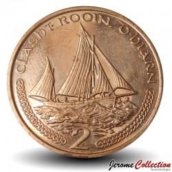 ILE DE MAN - PIECE de 2 Pence - Bateau de pêche - 2001 Km#1037