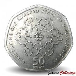 ROYAUME UNI - PIECE de 50 Pence - 100 Ans du mouvement scout féminin - 2010 Km#1165