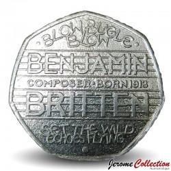 ROYAUME UNI - PIECE de 50 Pence - Benjamin Britten - 2013 Km#1253