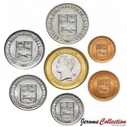 VENEZUELA - SET / LOT de 7 PIECES de 1 5 10 12 1/2 25 50 Centimos & Bolivars - 2007 / 2009
