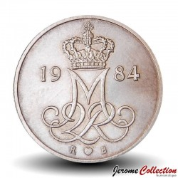 DANEMARK - PIECE de 5 øre - Monogramme de la reine Marguerite II - 1984 Km#859