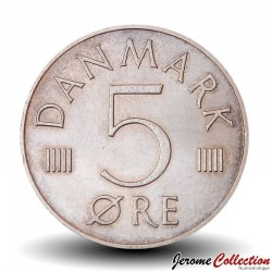 DANEMARK - PIECE de 5 øre - Monogramme de la reine Marguerite II - 1984