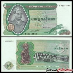 ZAIRE - Billet de 5 Zaires - Président Joseph Désiré Mobutu - 24.11.1977 P21b