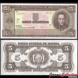 BOLIVIE - Billet de 5 Bolivianos - Simón Bolívar - 1945 P138d