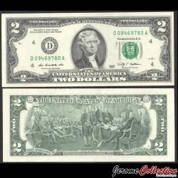 ETATS UNIS / USA - Billet de 2 DOLLARS - Thomas Jefferson - D(4) Cleveland - 2009 P530Ad