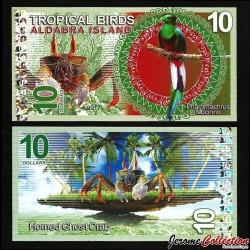 ALDABRA ISLAND - Billet de 10 DOLLARS - Quetzal resplendissant / Crabe - 2017