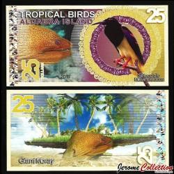 ALDABRA ISLAND - Billet de 25 DOLLARS - Paradisier multifil / Murène - 2017