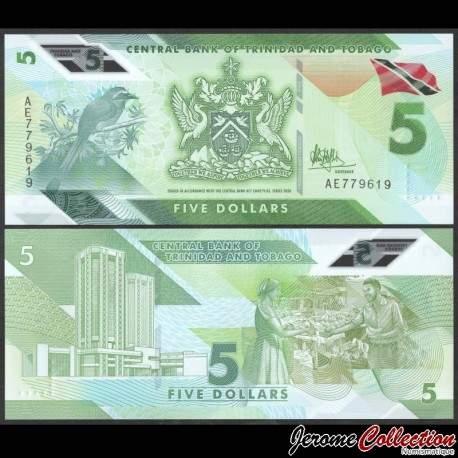 TRINITÉ-ET-TOBAGO - Billet de 5 DOLLARS - Oiseau Motmot à couronne bleue - Polymer - 2020 P61a