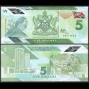 TRINITÉ-ET-TOBAGO - Billet de 5 DOLLARS - Oiseau Motmot à couronne bleue - Polymer - 2020