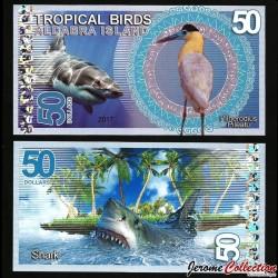 ALDABRA ISLAND - Billet de 50 DOLLARS - Héron coiffé / Requin - 2017