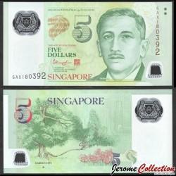 SINGAPOUR - Billet de 5 DOLLARS - Polymer- ★ - Jardins - 2020 P47c
