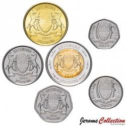 BOTSWANA - SET / LOT de 6 PIECES de 5 10 25 50 THEBE 1 2 PULA - 2013