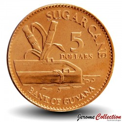 GUYANA - PIECE de 5 Dollars - Canne à sucre - 2012 Km#51