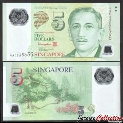 SINGAPOUR - Billet de 5 DOLLARS - Polymer -▲- Jardins - 2014 P47d