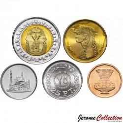 EGYPTE - SET / LOT de 5 PIECES de 5 10 20 50 Piastres + 1 Livre - 2008 / 2010 Km#940 941 942 990 991