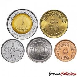 EGYPTE - SET / LOT de 5 PIECES de 5 10 20 50 Piastres + 1 Livre - 2008 / 2010