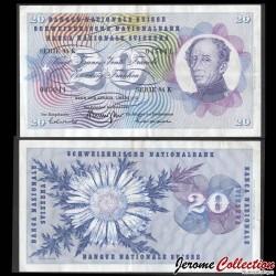SUISSE - Billet de 20 Francs - Général Guillaume Henri-Dufour - 1973 P46u1