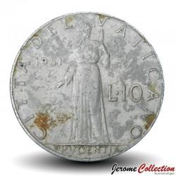 VATICAN - PIECE de 10 Lires - Prvdentia - Pie XI - 1951 Km#52