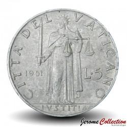 VATICAN - PIECE de 5 Lires - La justice - 1951 Km#51