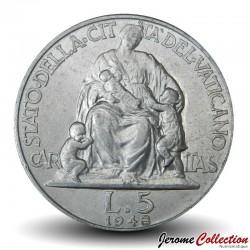 VATICAN - PIECE de 5 Lires - La Charité - 1948 Km#42