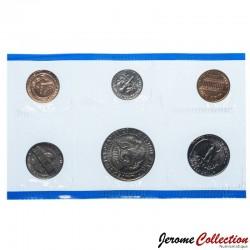 ETATS UNIS / USA - SET / LOT de 6 PIECES de 1 5 10 Cents ¼ ½ DOLLAR - 1991 - P Km#164a 192 195a 201a 202b