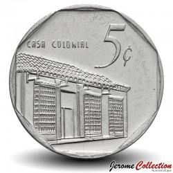 CUBA - PIECE de 5 CENTAVOS - Maison coloniale - 2000 Km#575