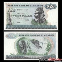 ZIMBABWE - Billet de 20 DOLLARS - Elephants - 1994 P4d
