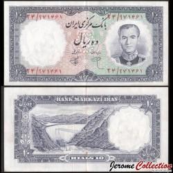 IRAN - Billet de 10 Rials - Shah Mohammad Reza Pahlavi - 1961 P71a1