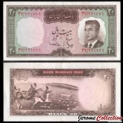 IRAN - Billet de 20 Rials - Shah Mohammad Reza Pahlavi - 1964 P78b