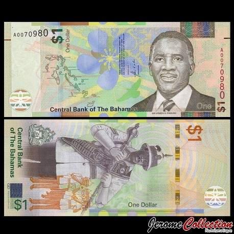 BAHAMAS - Billet de 1 Dollar - Sir Lynden O. Pindling - 2017 P77a